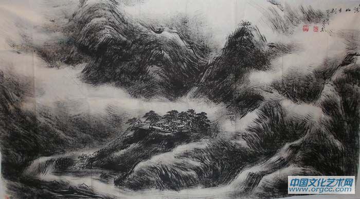 李颠先生的焦墨山水画